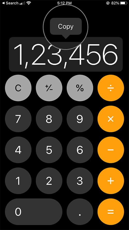 Copy or Paste Numbers in Calculator App on iPhone