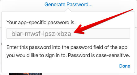 Copy the password you have just created