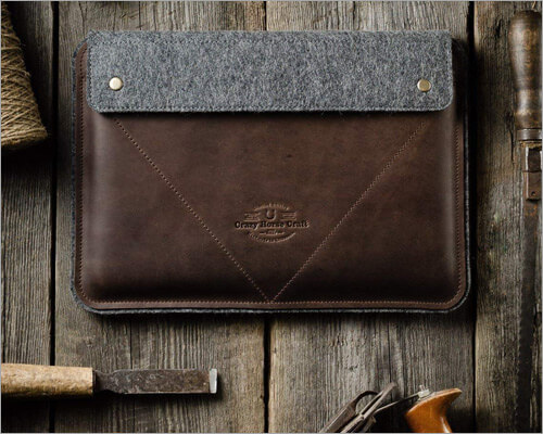 Crazy Horse Craft Italian Leather Sleeve for 16-inch MacBook Pro