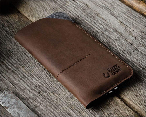 Crazy Horse Craft Italian Leather Sleeve for iPhone 11 Pro Max
