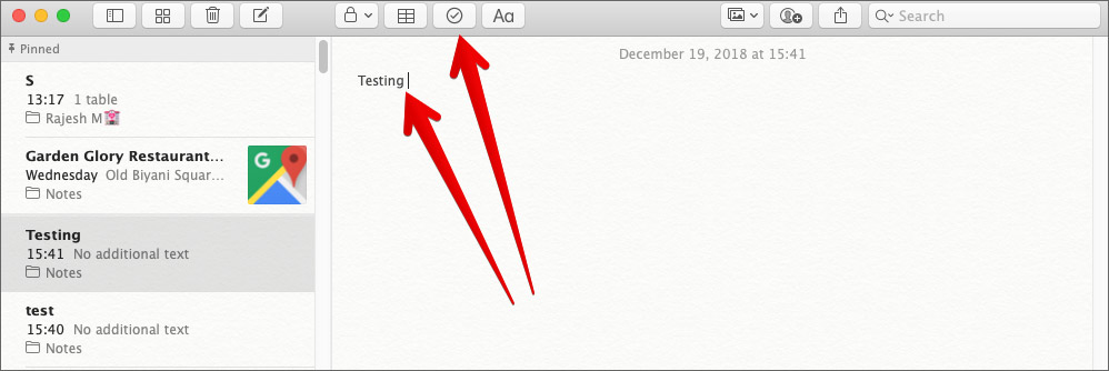 Create A Checklist in Notes App on Mac