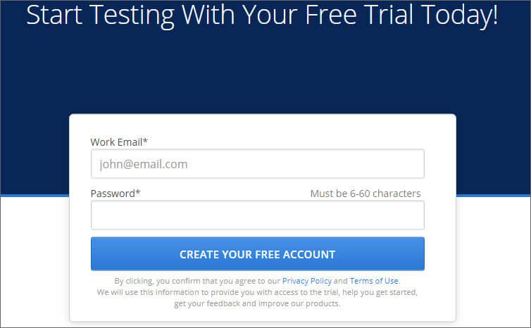 Create Account in Crossbrowsertesting Web