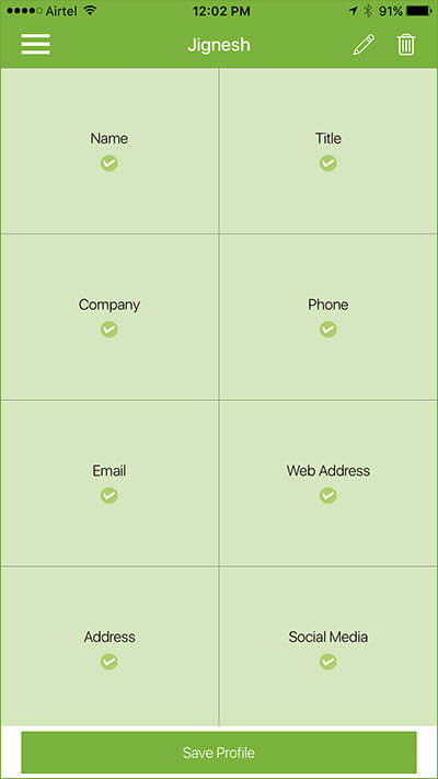Create Business Card using SwitchIt iPhone App