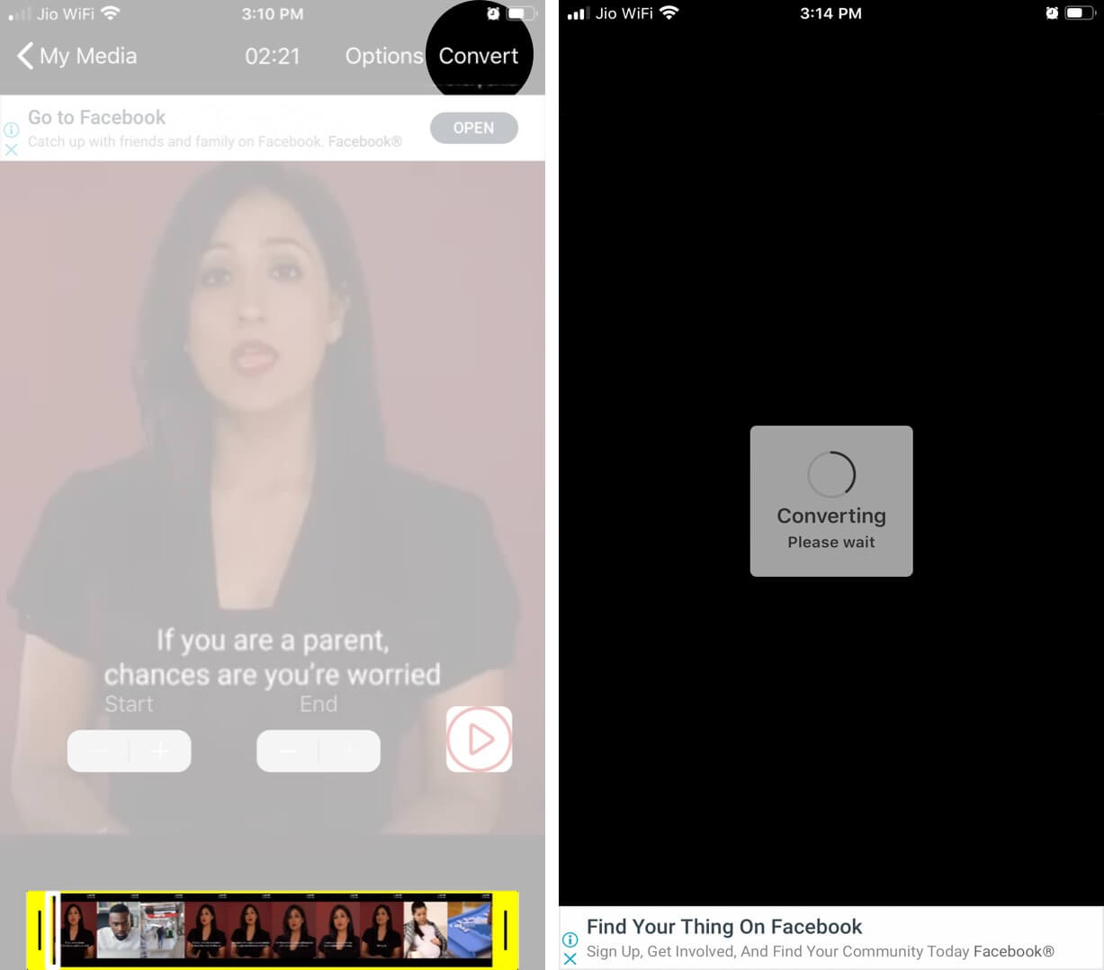 Create Cover Photo and Then Tap on Convert on iPhone