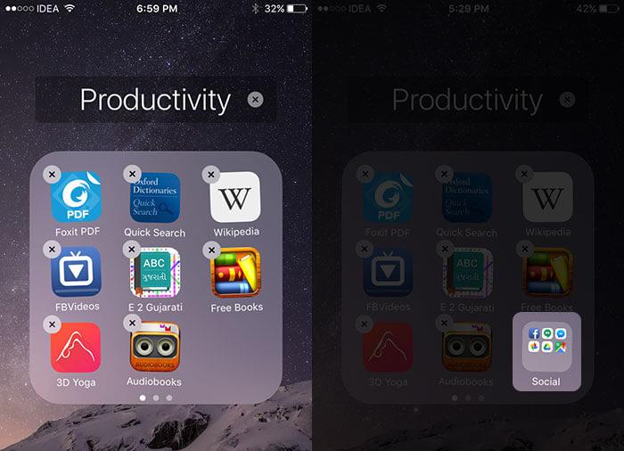 Create Folder in Folder in iOS 9 on iPhone and iPad
