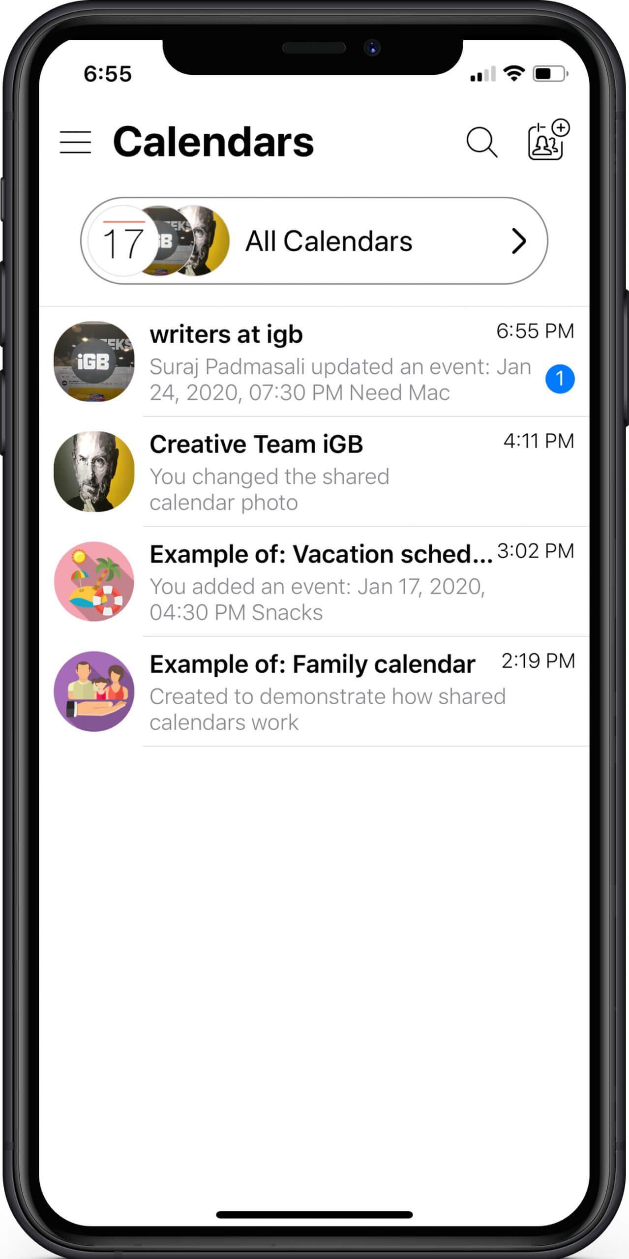 Create Multiple Calendars in GroupCal App on iPhone