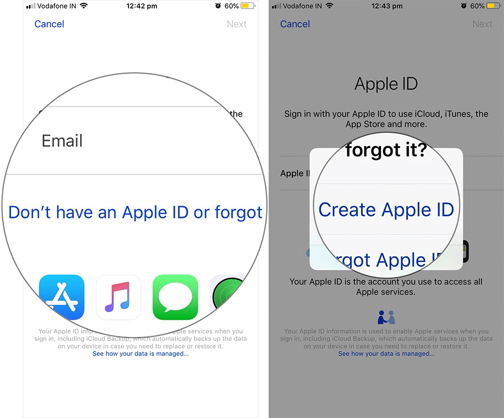Create New Apple ID on iPhone iPad