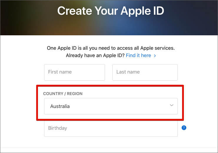 Create New Apple ID with the Select Australia Country