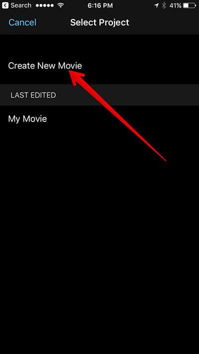 Create New Movie in iMovie iPhone App