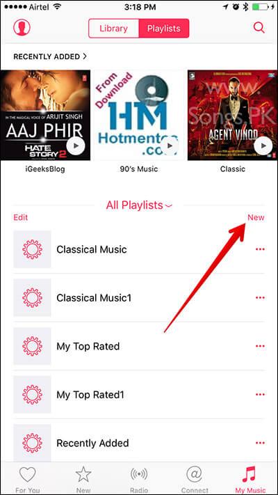 Create New Playlist in iPhone Music App