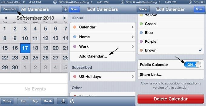 Create Public Calendar On iPhone Calendar App