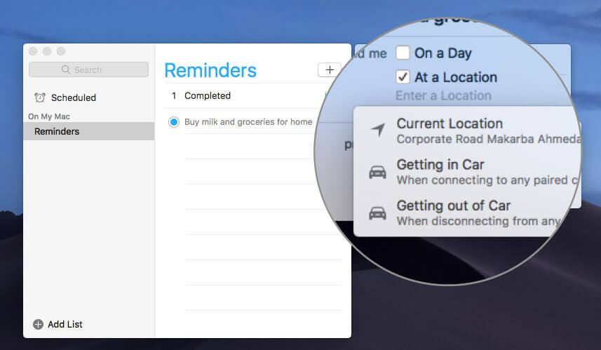 Create Reminders on Mac that Alert you When Getting in or Out of your Car