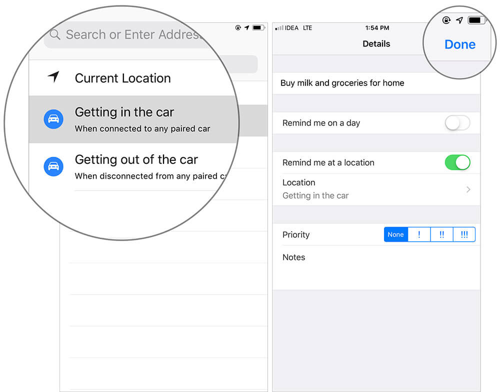 Create Reminders on iPhone that Alert you When Getting in or Out of your Car