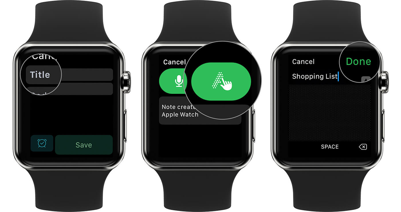 Create Text Evernote Title on Apple Watch