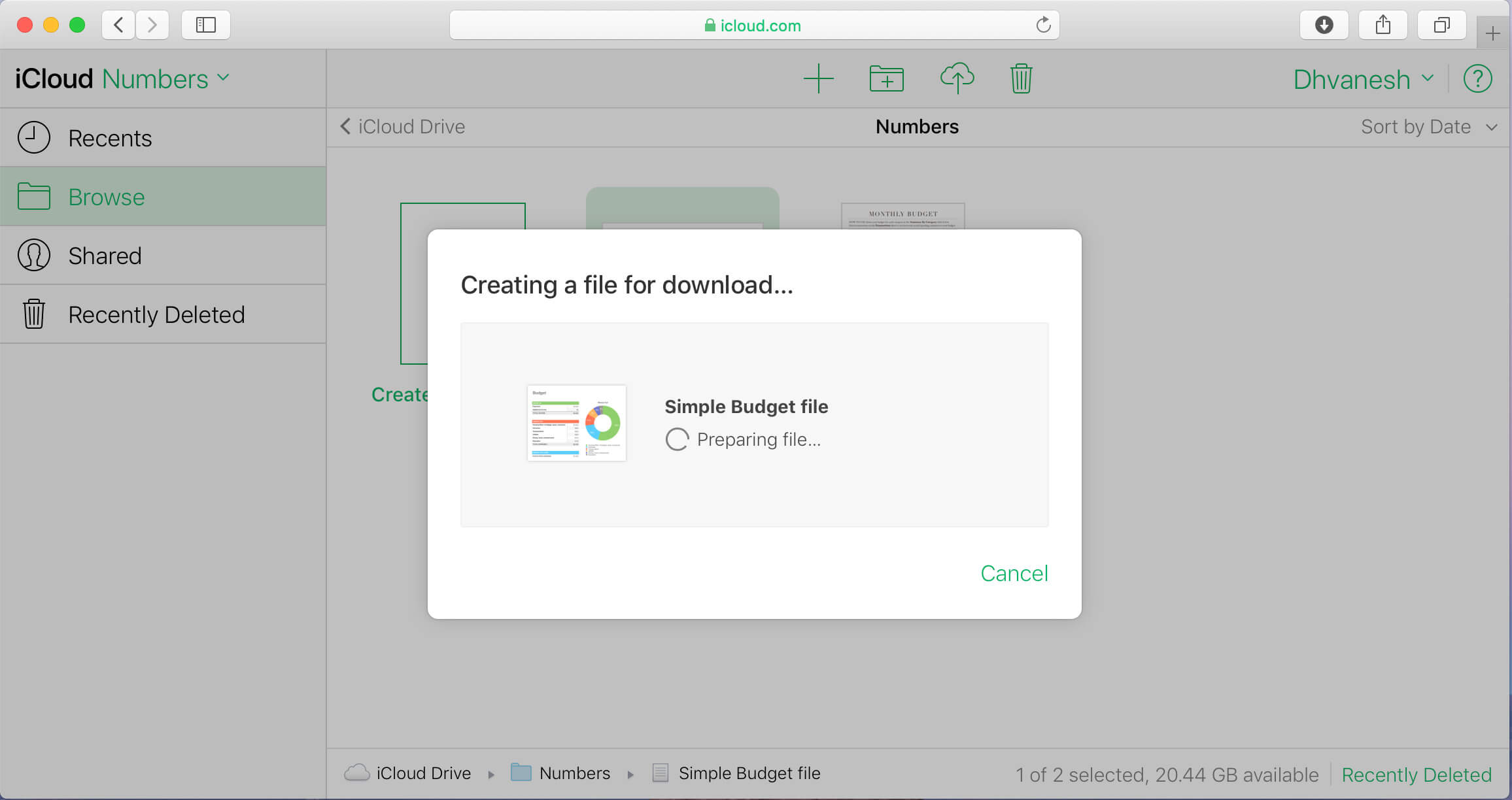 Create a iWork file for download and save it on PC