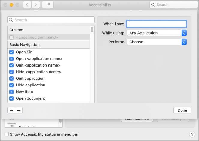 Create custom commands using Voice Control on Mac