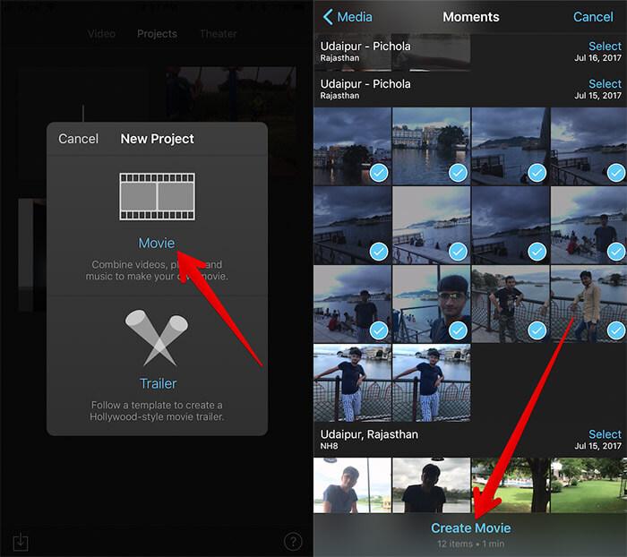 Create iMovie on iPhone