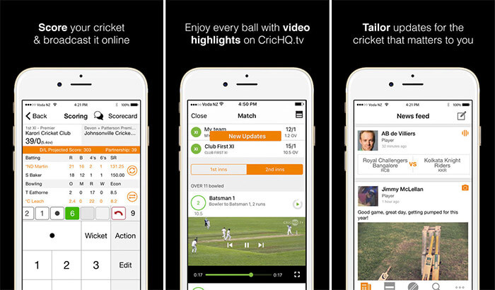 CricHQ iPhone App Screenshot