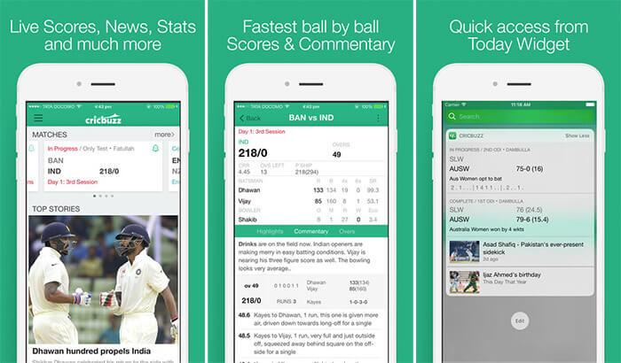 Cricbuzz iPhone App Screenshot
