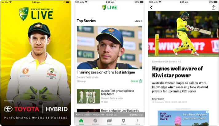 Cricket Australia Live iOS App Screenshot