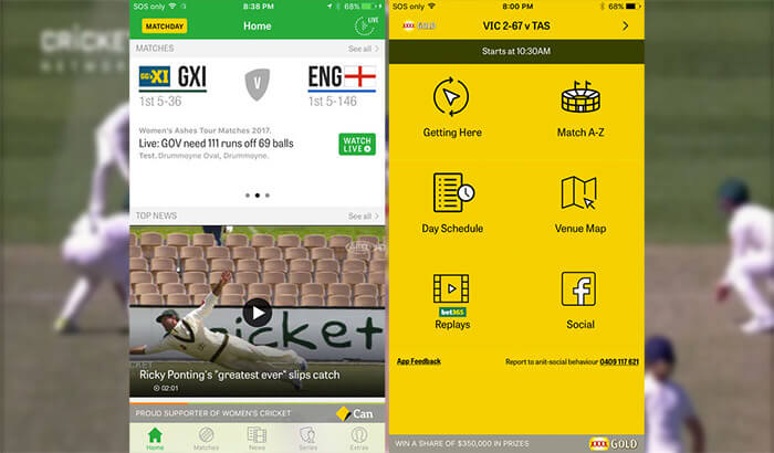 Cricket Australia Live iPhone App Screenshot