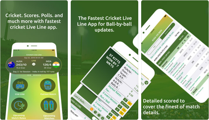 Cricket Live Line iPhone and iPad App Screenshot
