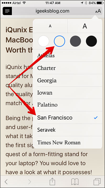 Customize Background Color and Font in Safari Mode on iPhone