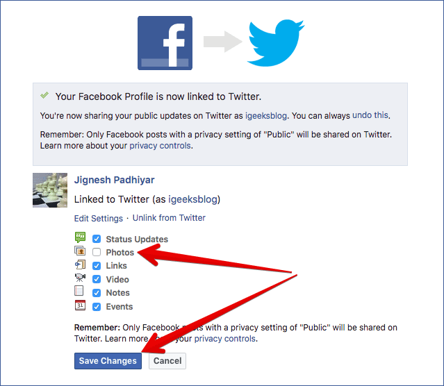 Customize Sharing Settings for Twitter in Facebook