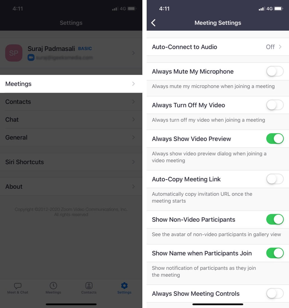 Customize Zoom Meeting Settings on iPhone
