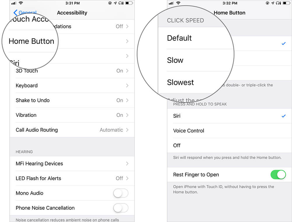 Customize iPhone Home or Side Button Click Speed