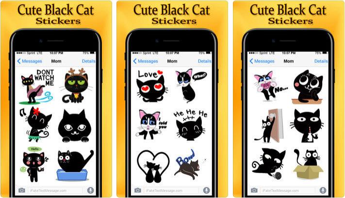 Cute Black Cat Stickers Pack iMessage App Screenshot