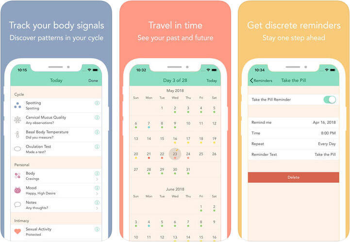 Cycles Period & PMS Tracker iPhone and iPad App Screenshot