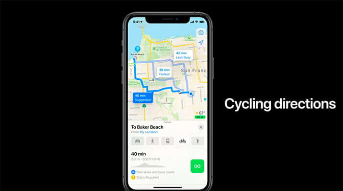Cycling Direction in Apple Maps