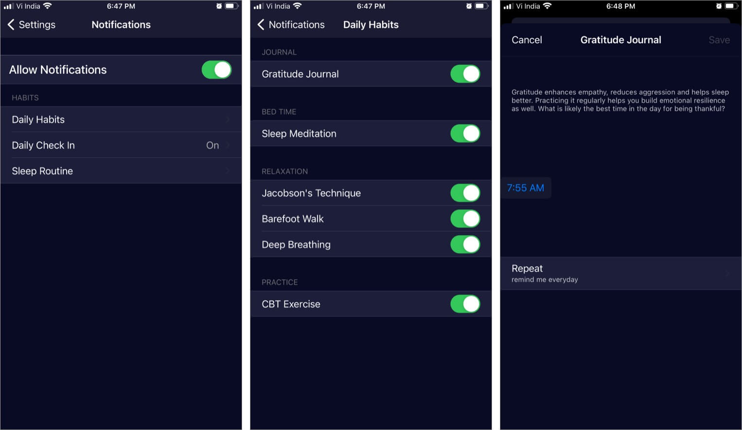 Daily Reminders in WysaiPhone App