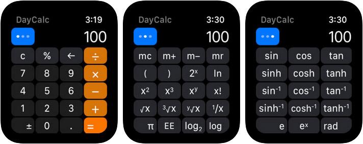 DayCalc Note Calculator Apple Watch App Screenshot