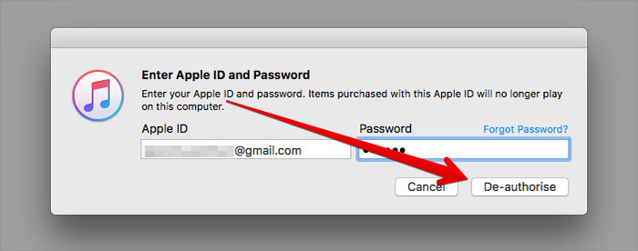 De-authorise Mac for iTunes on Mac