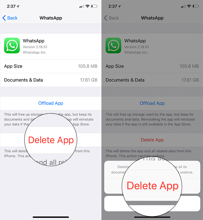 Delete App to Clear Documents and Data on iPhone or iPad