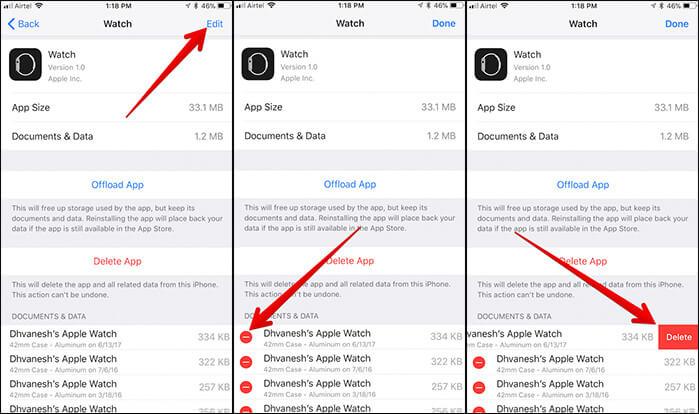 Delete Apple Watch Backup on iPhone