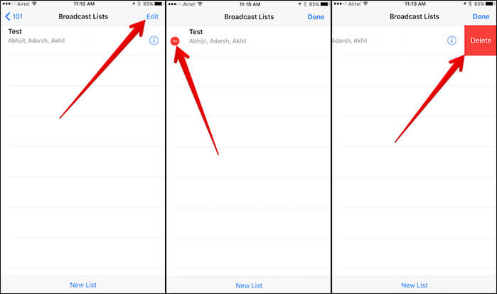Delete Broadcast List from WhatsApp on iPhone
