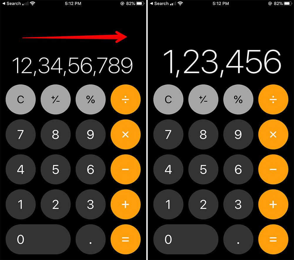 Delete Digits in Calculator App on iPhone