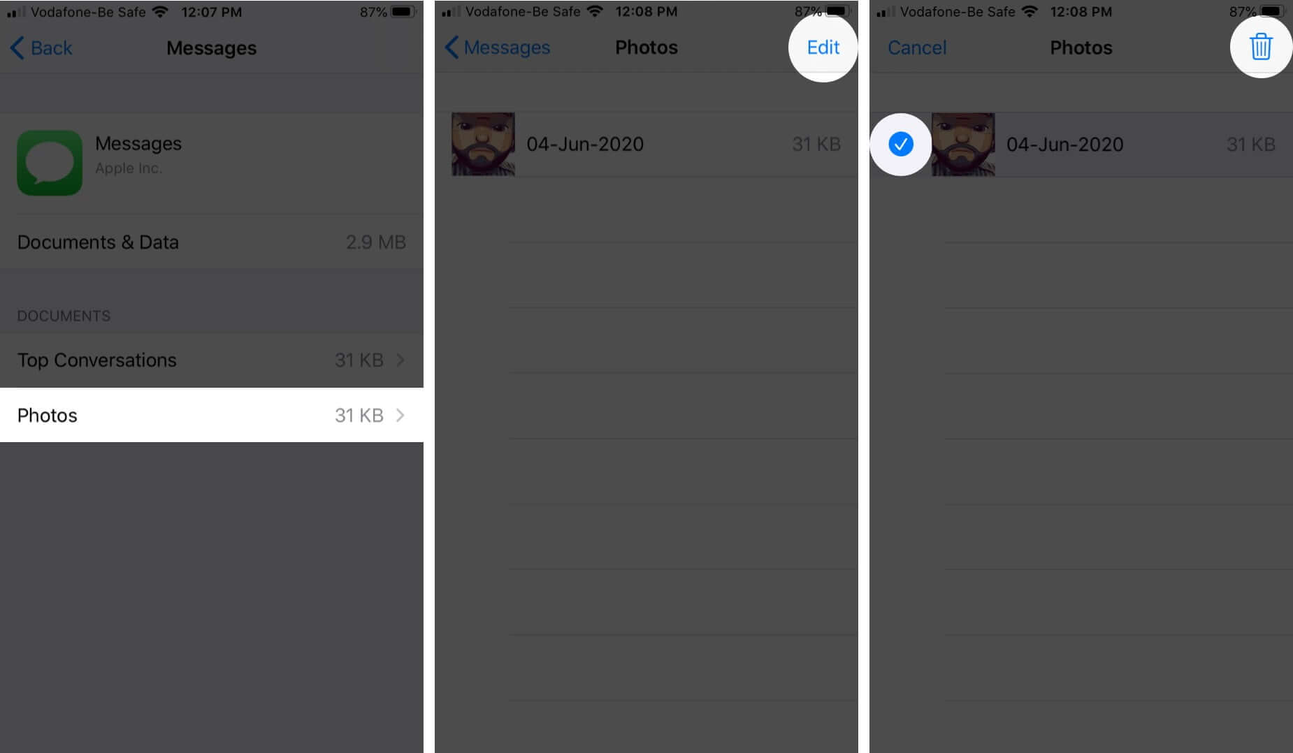 Delete Images from Messages Storage on iPhone