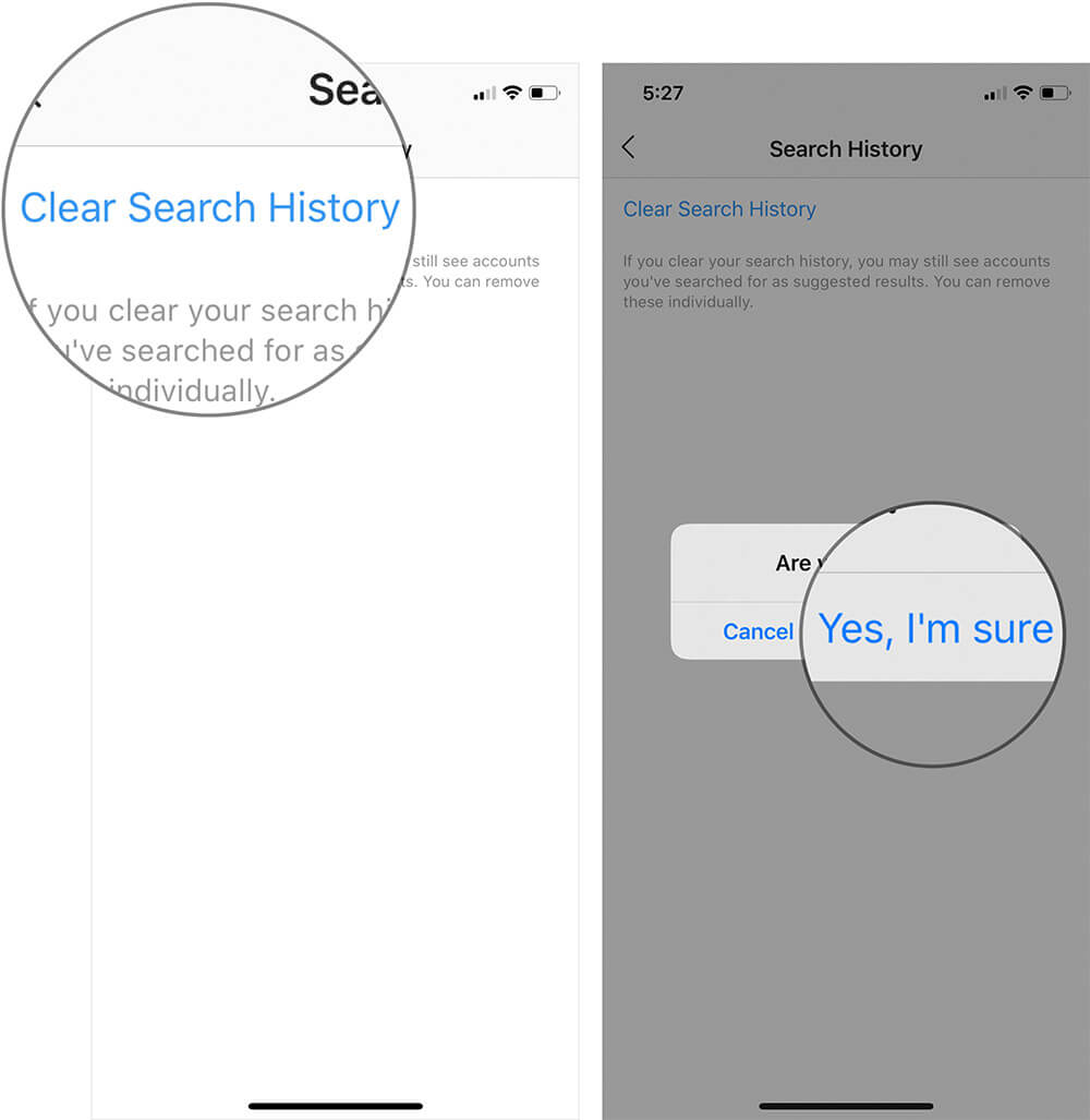 Delete Instagram Search History on iPhone or Android