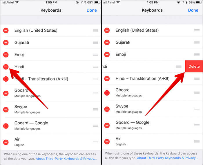Delete Keyboard on iPhone and iPad