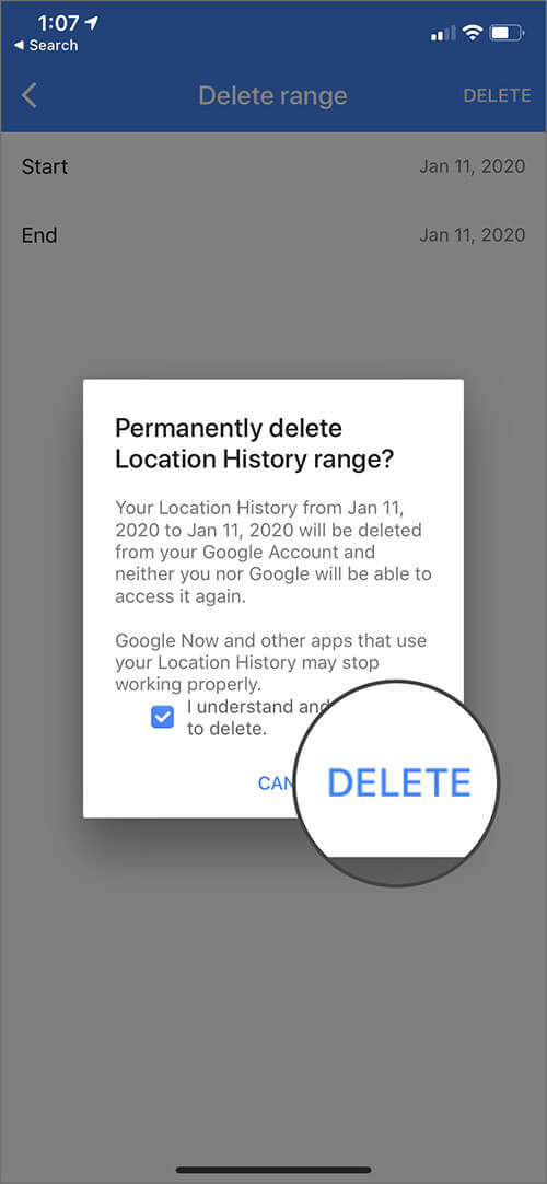 Delete Location History For Particular Days on iPhone
