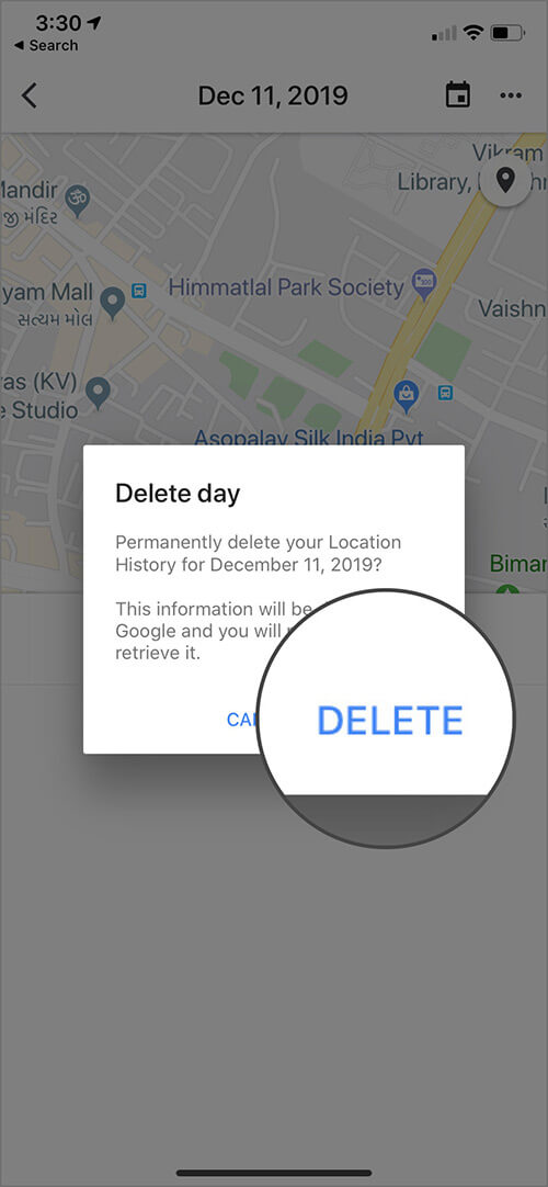 Delete Location History for One Day in Google Maps on iPhone
