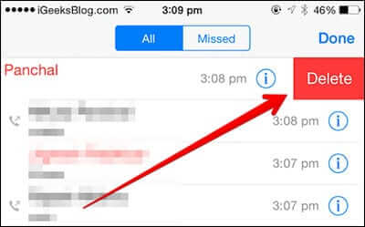 Delete Particular WhatsApp Call History on iPhone