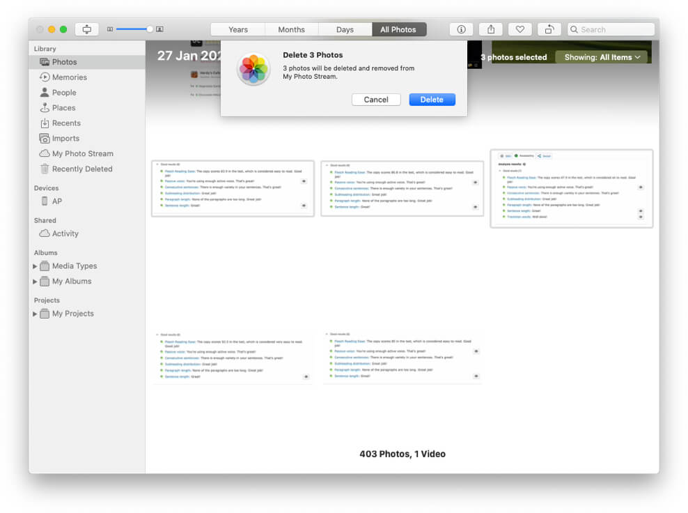 Delete Photos from iCloud Photo Stream on Mac