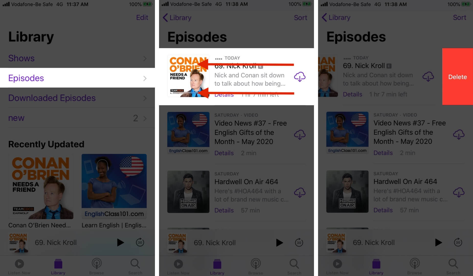 Delete Podcast Episodes on iPhone