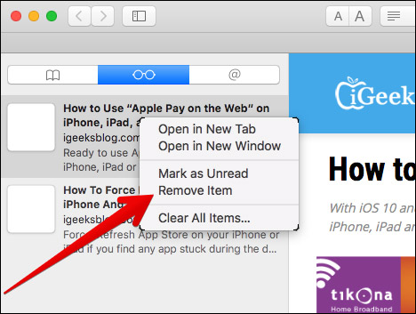 Delete Webpages from your Reading List in Mac