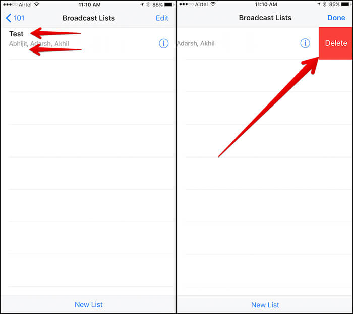 Delete WhatsApp Broadcast List from iPhone